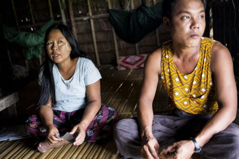 Ma Than Than Htay, 40, and her husband. (Ann Wang / Frontier)