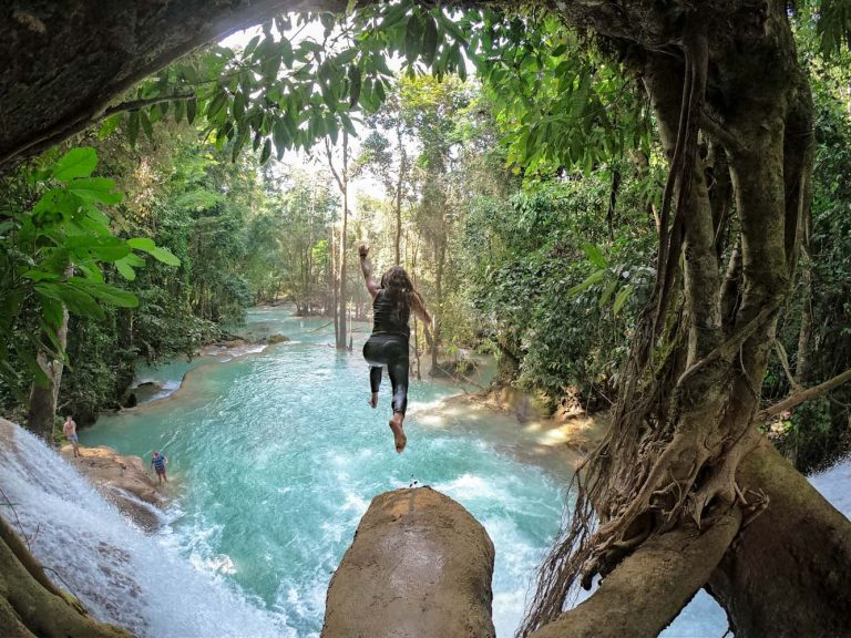 Jumping from Nant Mon Gyi Waterfall. (Dominic Horner | Frontier)