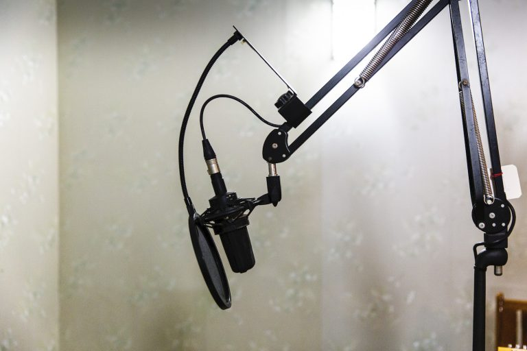 A radio microphone stands ready to record at the City FM radio station in Yangon on June 9. (Hkun Lat)