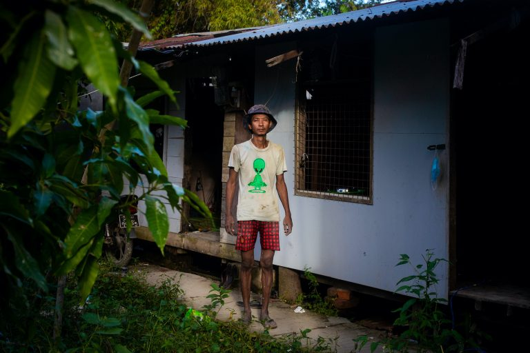 When the construction site he worked at was forced to close due to COVID-19 restrictions in September, construction worker U Aung Khant had to take out loans to feed his family. (Hkun Lat | Frontier)