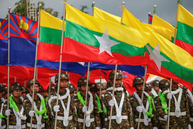 Soldiers of the Karen Border Guard Force parade in a ceremony at Shwe Kokko, in Kayin State's Myawaddy Township, to mark the group's ninth anniversary on August 20, 2019. (Frontier)