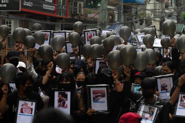 Fallen protester memorial Yangon