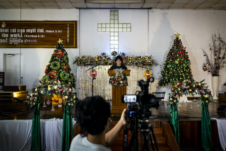 The Kachin Baptist Church in Yangon conducts a practice run on December 20 for their Christmas Day live broadcast. (Hkun Lat | Frontier)
