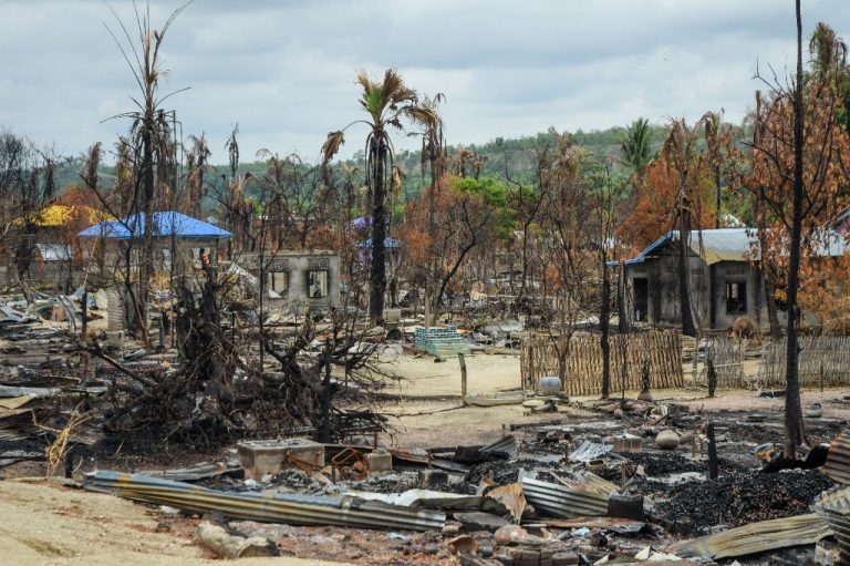 The burned-down remains of Kinma village in Magway Region's Pauk Township, seen on July 8. (Frontier)