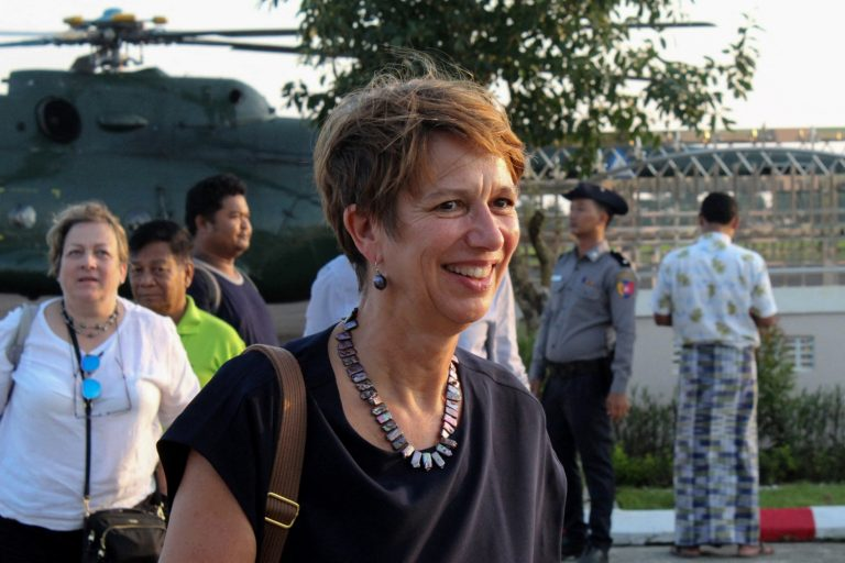 UN Special Envoy for Myanmar Christine Schraner Burgener arrives at Sittwe airport on a visit to Rakhine State on October 15, 2018. (AFP)