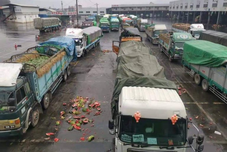 Trucks carrying watermelons at the Myanmar-China border in Muse. (Supplied)