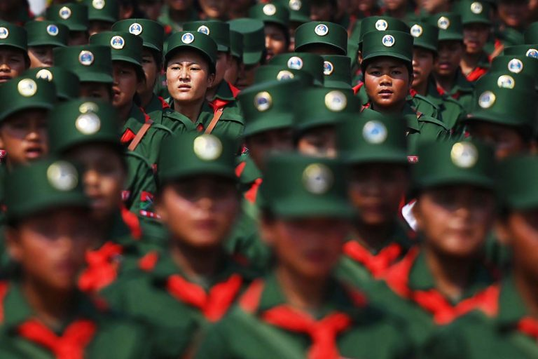 United Wa State Army soldiers participate in a military parade to mark the 30th anniversary of a ceasefire with the Tatmadaw in the Wa capital Panghsang on April 17, 2019. (AFP)