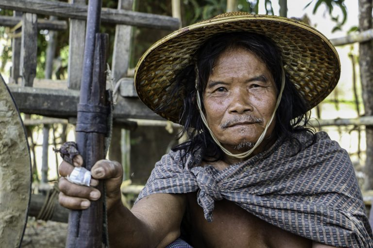 A member of a civilian defence force in Kani Township, Sagaing Region, holds his traditional tumi gun. (Frontier)
