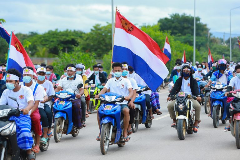 Karen National Democratic Party supporters ride in a convoy through Myawaddy Township, Kayin State, on October 19. (Supplied/Karen National Democratic Party)