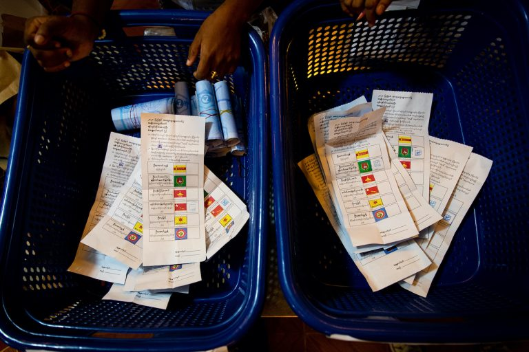 Counted ballots at a polling station in South Okkalapa Township in Yangon on November 8. (Hkun Lat | Frontier)