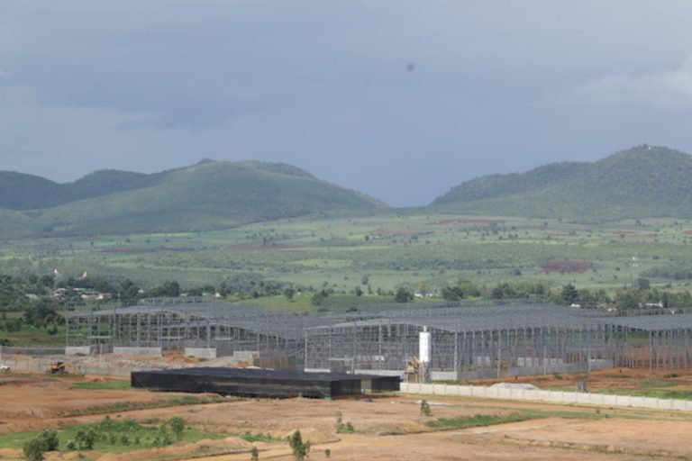 Buildings under construction at the Global South Industrial project site in the Loikaw Industrial Zone in Kayah State. (Supplied | Kayah Earthrights Action Network)