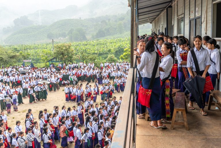 Opening day for the 2021 school year at Alen Bum IDPs Boarder, a middle and high school run by the Kachin Independence Organization. (Ring Nu Awng)