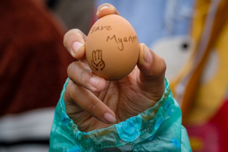 As security forces continue to use deadly force on protesters, people resisting military rule have turned to more creative methods, the latest of which involves eggs to coincide with Easter. (AFP)
