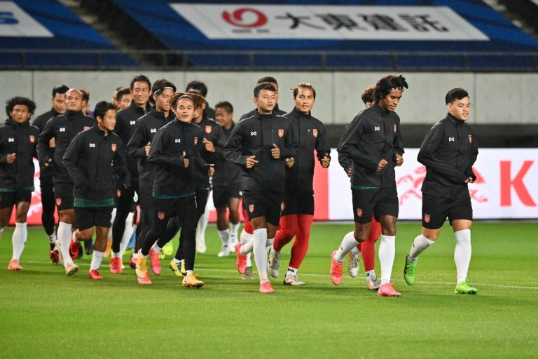 Members of Myanmar's national team take part in a training session ahead of their match against Japan, at Fuku-ari stadium in the Japanese city of Chiba on May 27. (AFP)