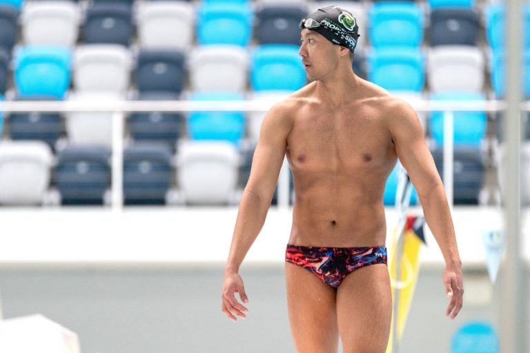"""Ko Win Htet Oo attends a training session at the Melbourne Aquatic Centre in Australia on April 29. The Myanmar swimmer said, """"For me, it's just one person's dream of going to the Olympics, but in Myanmar, millions of young people have witnessed their dreams and aspirations have disappeared."""