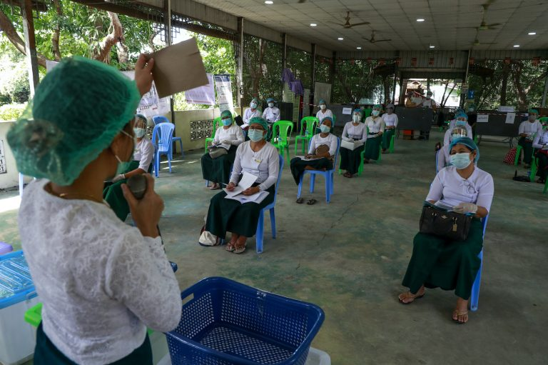 School teachers sit through polling station officer training at the Mingun monastery in Yangon's Insein Township on October 23. Now, nearly a dozen are being sued by the Union Solidarity and Development Party. (Nyein Su Wai Kyaw Soe | Frontier)