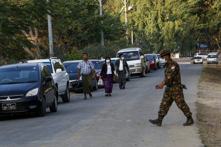 MPs are released from house arrest at compounds in Nay Pyi Taw on February 2, under the patrol of Tatmadaw soldiers. (Frontier)