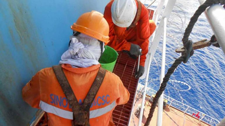 Fourteen Myanmar seamen on a Taiwan-flagged tanker in the South China Sea have completed their contract but are unable to return to Yangon. (Supplied)
