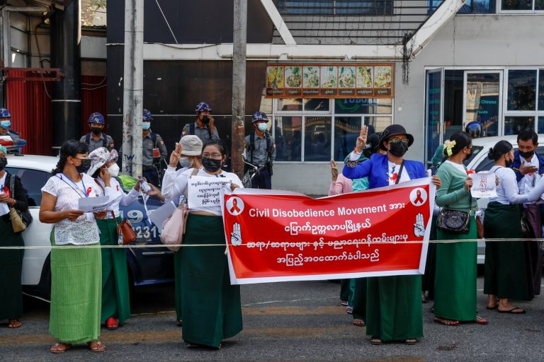 Striking government schoolteachers from Yangon's North Okkalapa Township demonstrate their opposition to the coup on February 9. (Frontier)