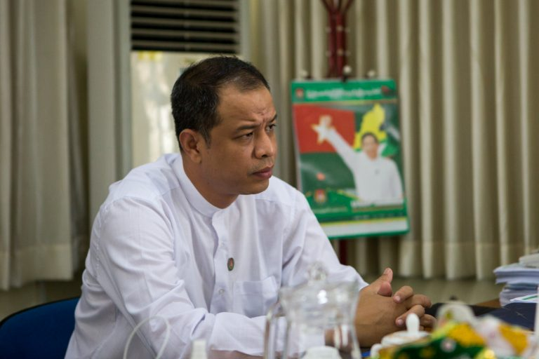 USDP spokesperson Dr Nanda Hla Myint speaks with Frontier on July 24 at the party's headquarters in Nay Pyi Taw. (Thuya Zaw)