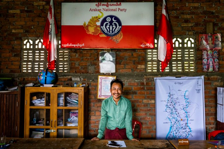 U Htun Nay Win, seen here in the Arakan National Party office in Mrauk-U's Nyaung Bin Zay ward, was the ANP's candidate for the township's Pyithu Hluttaw seat before voting was cancelled in Mrauk-U alongside eight other townships in Rakhine State. (Hkun Lat | Frontier)