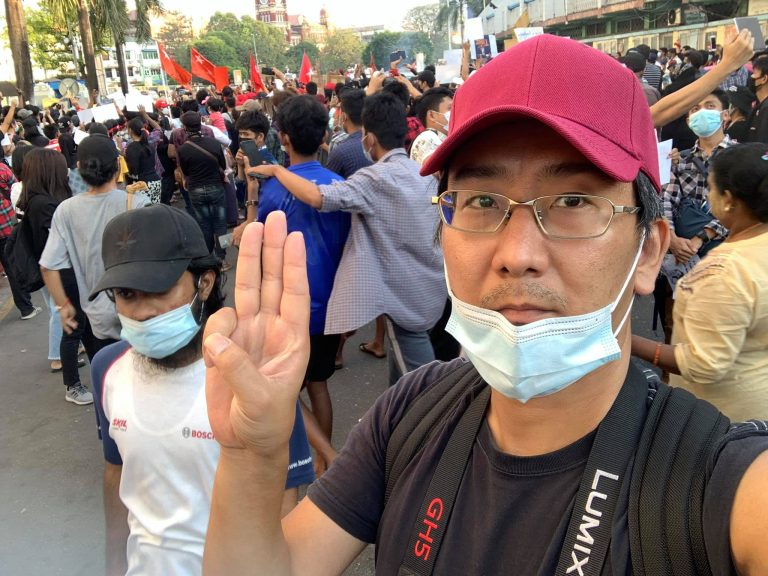 Japanese freelancer Yuki Kitazumi at an anti-coup protest in Yangon in early February. (Facebook / Yuki Kitazumi)