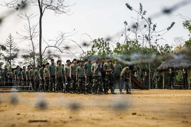 Arakan Army recruits train at the group's headquarters in Laiza, Kachin State, near the Chinese border. (Hkun Lat | Frontier)