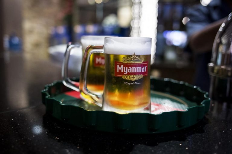 Ubiquitous in food shop coolers and on bar taps throughout the country, Myanmar Beer proceeds are split by Japanese firm Kirin Holdings and the military-owned Myanmar Brewery.