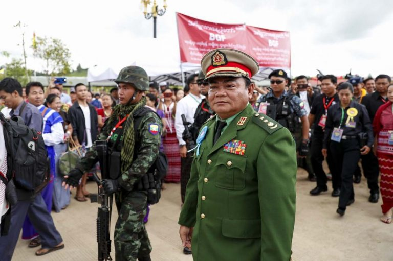 Kayin State Border Guard Force chief Colonel Saw Chit Thu at a ceremony at Shwe Kokko in August 2019 to mark the force's ninth anniversary. (Nyein Su Wai Kyaw Soe | Frontier)