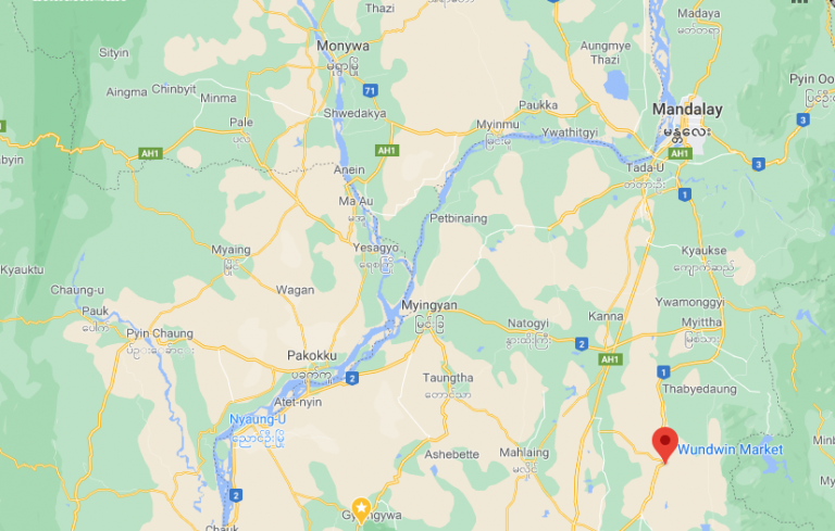 Wundwin, Mandalay Region – where crossfire from state security forces struck a 16-year-old girl in the head – is seen pinned on a Google map.